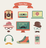 Vintage Retro Hipster Style Media Icons — Stock Vector