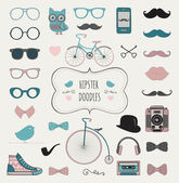 Hipster Retro Vintage Doodle Icon Set — Stock Vector