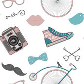 Hipster Retro Vintage Doodle Seamless Pattern — Stock Vector