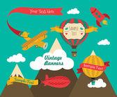 Vintage Air Vehicles Banner Design Set — Stock Vector
