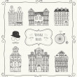 Vector Vintage Old Styled Houses — Stock Vector