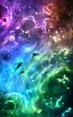 Rainbow colored nebulae surrounded by stars — Stock Photo