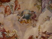 Vienna, Austria: Ceiling frescoes by Johann Michael Rottmayr in the Karlskirche in Vienna on August 27, 2013. — Stok fotoğraf