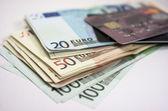 Euro banknotes. Credit Card. — Stock Photo