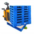 Forklift Truck with a Pallet - include path — Stock Photo