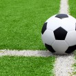 Soccer ball point on field at side line — Stock Photo