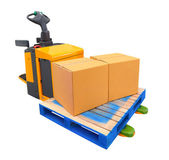 Forklift Truck with a Pallet and boxs - include path — Stock Photo