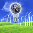 Wind turbines farm energy production to the bulb — Stock Photo