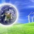 Wind turbines farm energy production to the world — Stock Photo