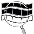 Filmstrip convex to sphere by magnify glass — Stock Vector