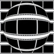 Постер, плакат: Negative filmstrip convex to sphere from center