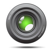 Camera lens green glass with reflection illustration — Stock Vector