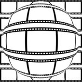 Positive filmstrip convex to sphere from center — Stock Vector