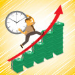 Businessman race against time for success — Imagen vectorial