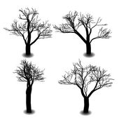 Four die tree silhouette on background — Stock Vector
