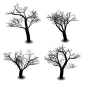Four die tree silhouette on white background — Stock Vector