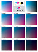 CMYK color swatch chart - Cyan and Magenta — Stock Vector
