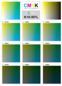 CMYK color swatch chart - Cyan and Yellow — Stock Vector