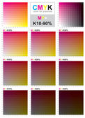 CMYK color swatch chart - Magenta and Yellow — Stock Vector