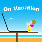 Business office on vacation at the beachv — Stock Vector