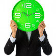 Business man and his clock show best time period — Stock Photo #46356517