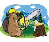 Beaver met chainsaw — Stockvector