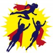 Super Heroine Silhouettes — Stock Vector