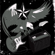 Stock Vector: Grungy Guitar Eagle