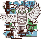 猫头鹰的攻击 — 图库矢量图片