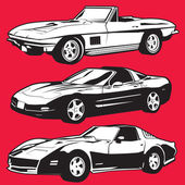 Three Corvettes — Stock Vector