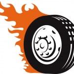 Fiery Racing Tire — Stock Vector #32413917