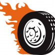 Fiery Racing Tire — Stock Vector