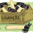 Stock Vector: Box of Hammers