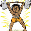 Caveman Weightlifter — Stock Vector