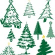 Christmas Tree Collection — Stock Vector