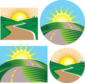 Roads and Sunrises — Stock Vector