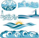 Rolling Blue Seas — Stock Vector
