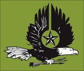 Xilografía de águila guerra — Vector de stock