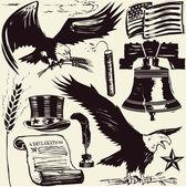 Woodcut Americana — Stock Vector