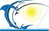 Marlin rybaření — Stock vektor