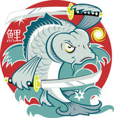 Samurai Koi Fish — Stock Vector