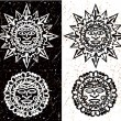 Aztec Sun and Moon — Vector de stock #32558285