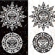 Aztec Sun and Moon — Vecteur #32558285
