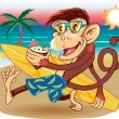 Beach Monkey — Stock Vector