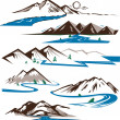 Stock Vector: Mountains and Rivers