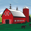 Barn Scene — Stock Vector
