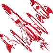 Retro Red Rockets — Stock Vector