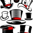Top Hat Collection — Stock Vector