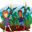 Corn Field Kids — Stock Vector