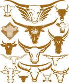 Kolekcja głowa krowy i byk — Wektor stockowy